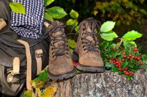 Wanderrast im Herbst - Wanderschuhe auf einem Baumstamm
