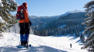 Mit Schneeschuhen auf dem Weg zum Feldberggipfel