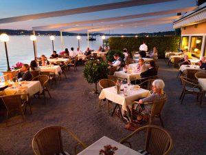 Abednstimmung auf der Seeterrasse im Hotel Schloss Berg am Starnberger See