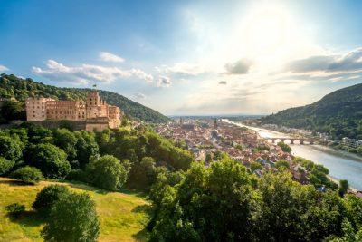 Blick über Heidelberg am Neckar im Rhein-Neckar-Gebiet