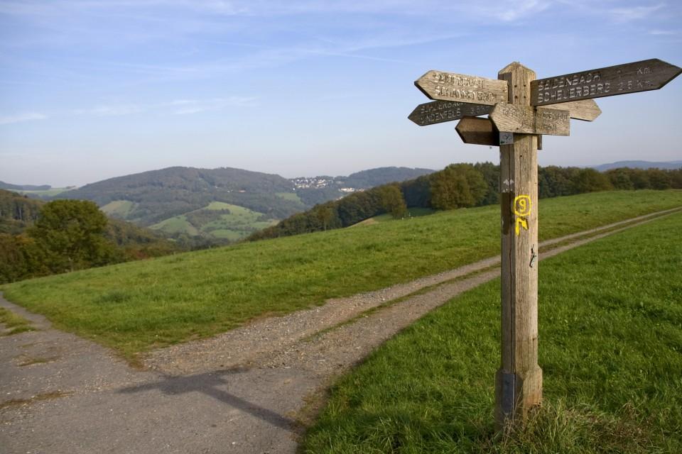 Wegkreuz mit Wegweiser im Odenwald