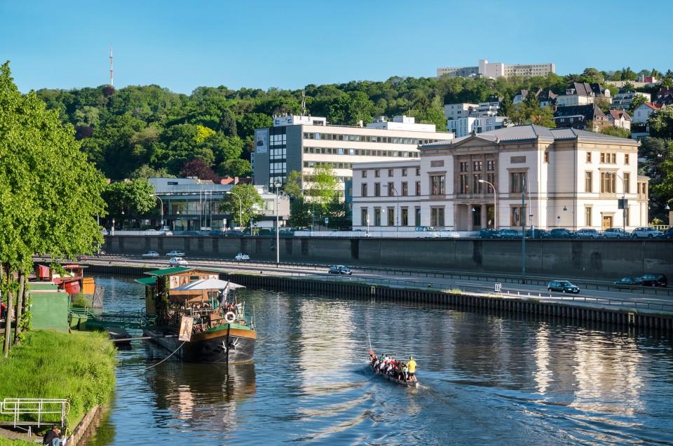Boote auf der Saar in Saarbrücken