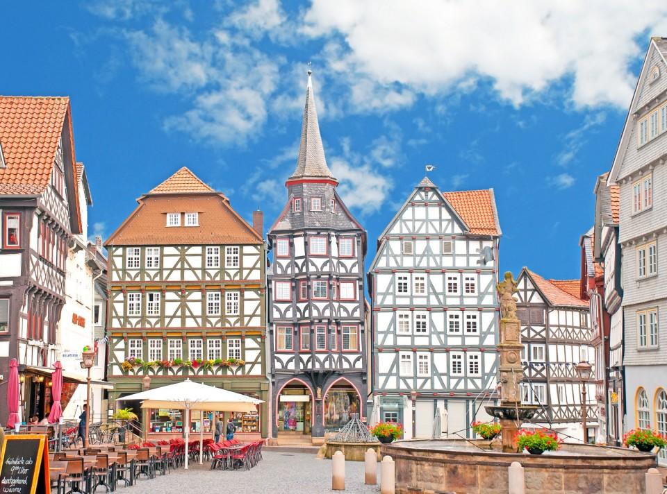Hübsche Fachwerkhäuser am Marktplatz von Fritzlar