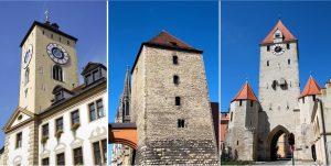 Rathausturm, Römerturm und Ostentor in Regensburg