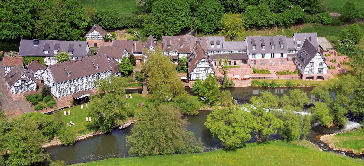 Luftbild Romantik Hotel Neumühle in Wartmannsroth
