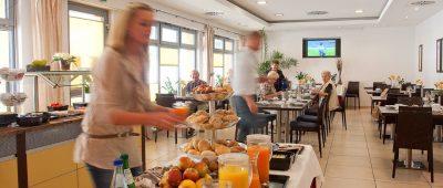 Hotel Lindleinsmühle in Würzburg. Frühstücksraum