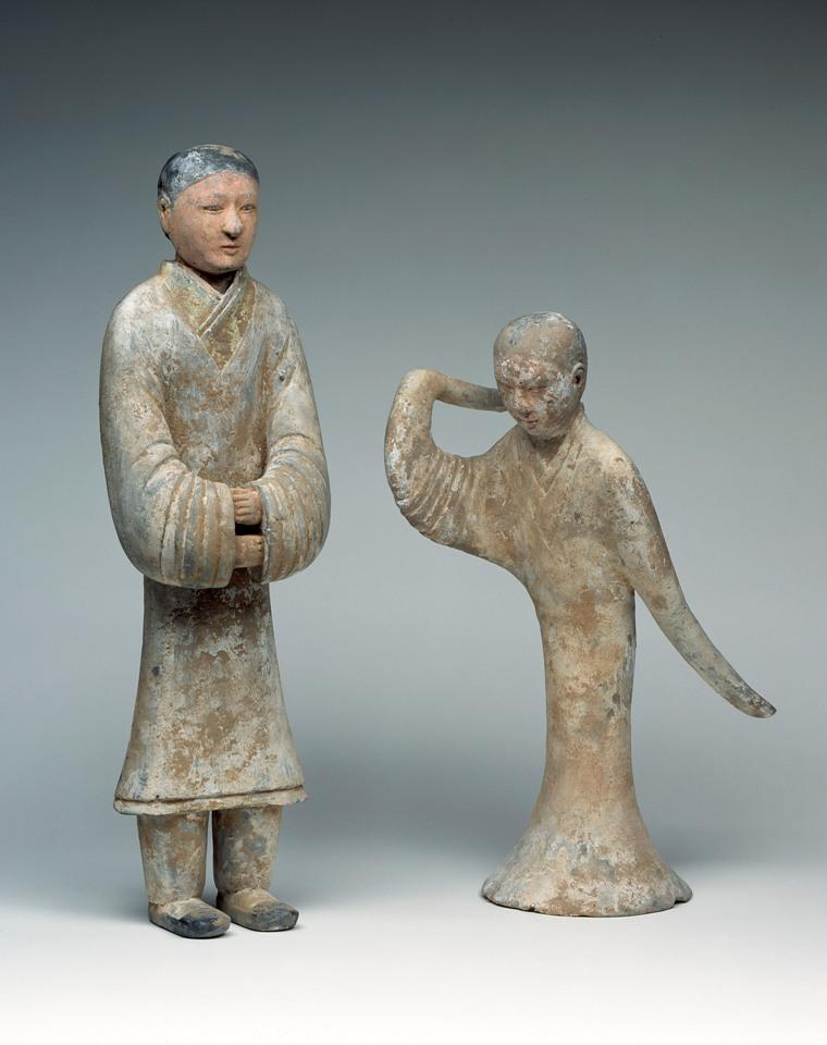 Stehende Dienerin und Tänzerin, China, West-Han-Zeit, 2. Jh. v. C.,