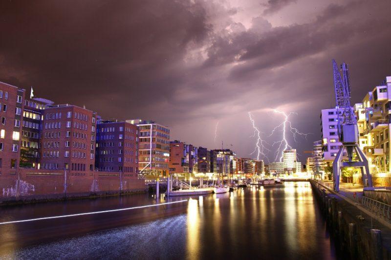 Hamburg Speicherstadt bei Gewitter