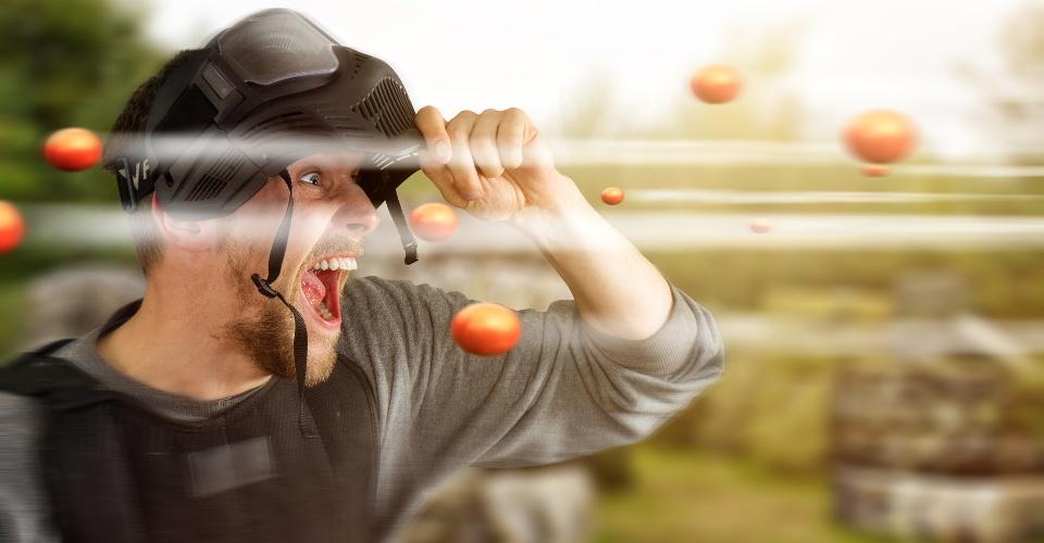 Paintballer beim Spiel