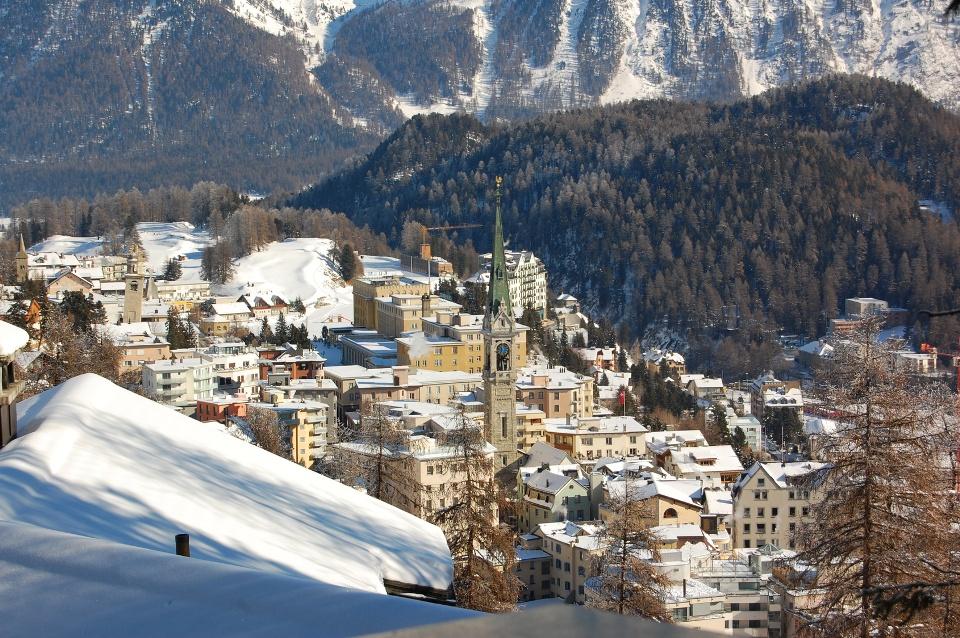 St. Moritz, Schweiz. Wintersportorte