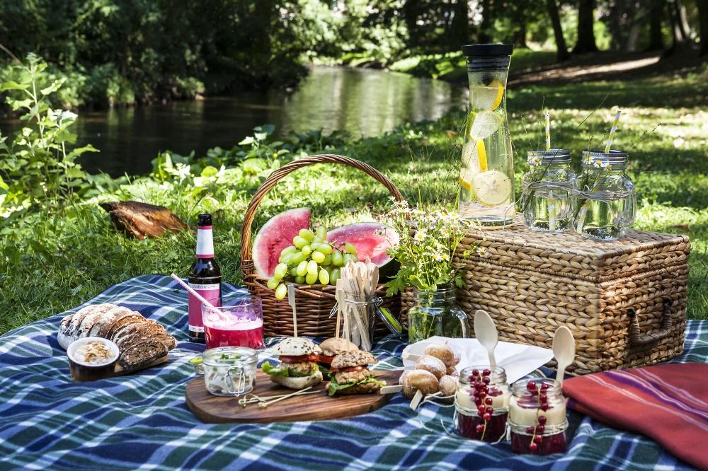 Picknickszene im Park am Wasser