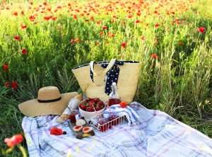 Picknick im Mohnfeld