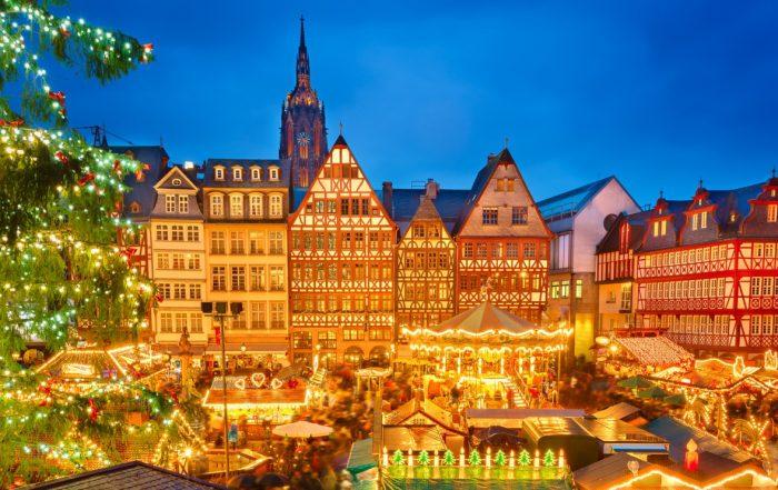 Abendlicher Weihnachtsmarkt in Frankfurt