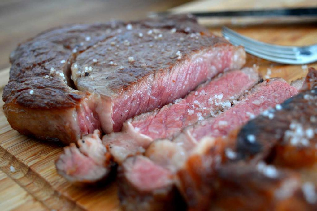 Steak rosa gebraten