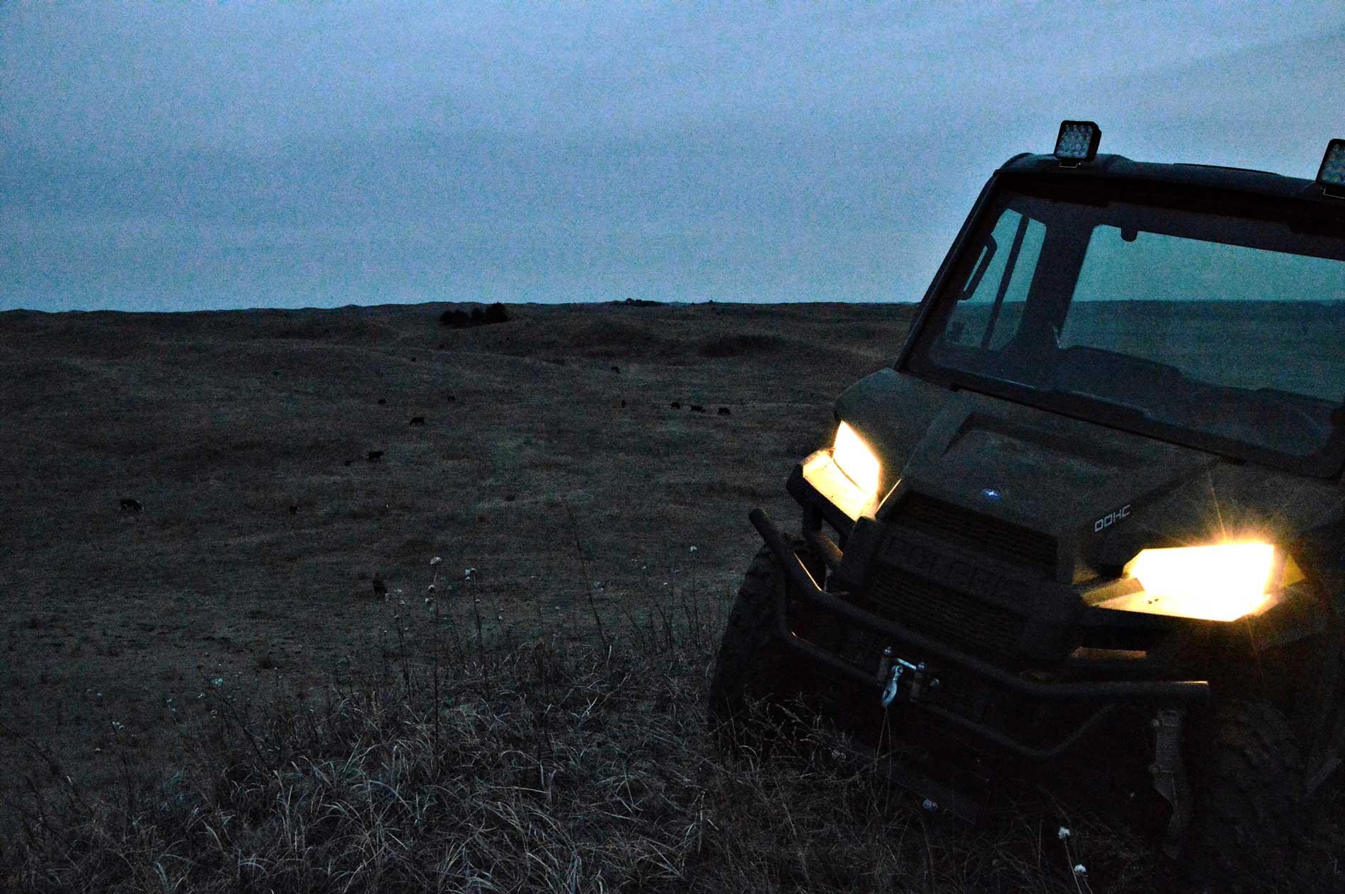 Rancharbeit nach Anbruch der Dunkelheit