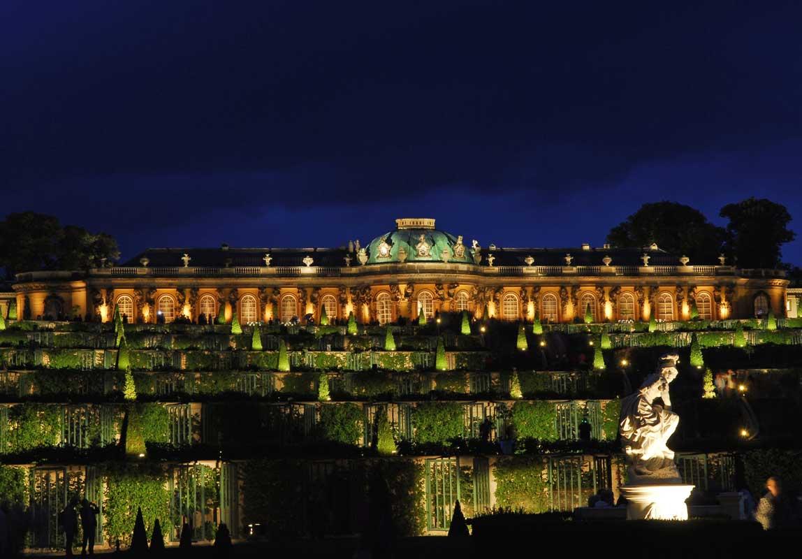 Schloss Sanssouci, Potsdamer Schlössernacht, Blick über die Terrasse