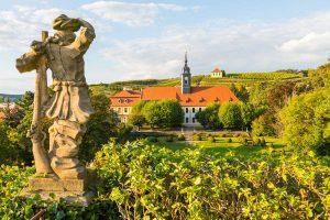 Blick auf das Barockschloss Seußlitz - Der Sächsische Weinwanderweg