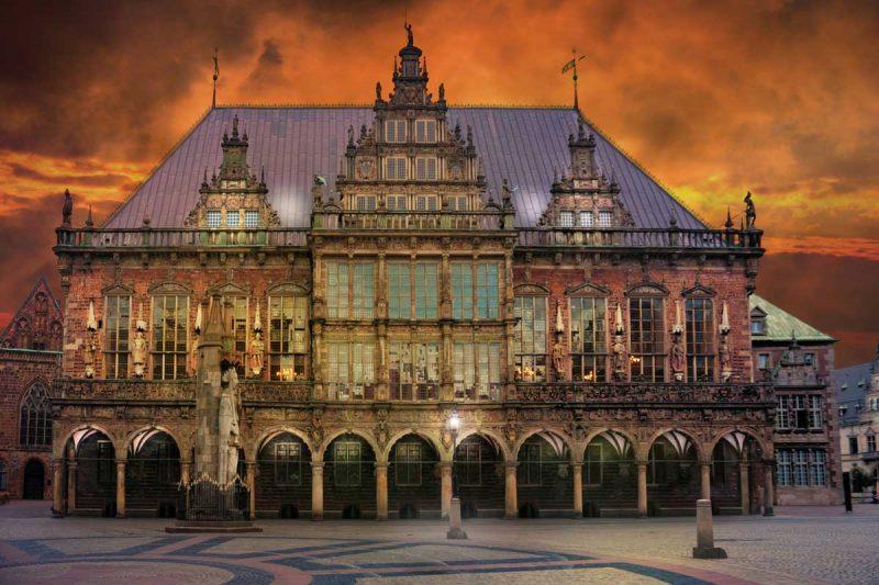 Rathaus Bremen in der Dämmerung