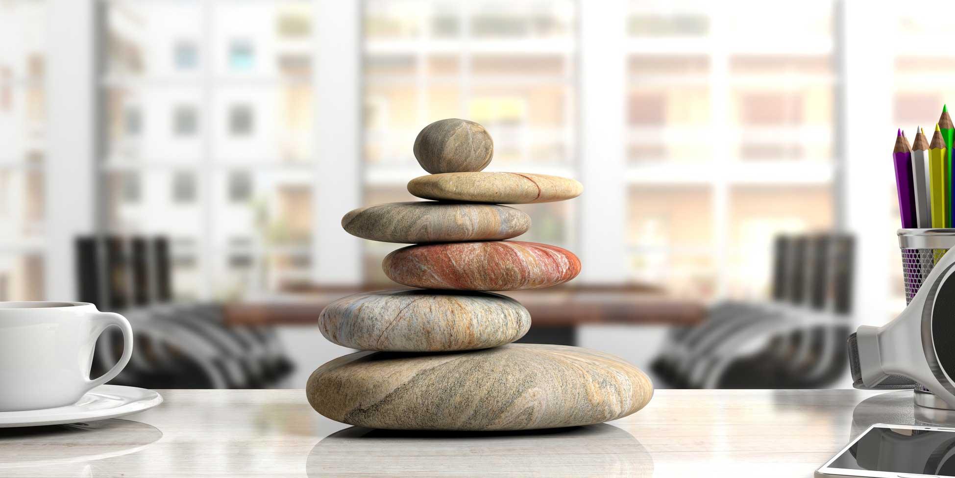 Zen Steine im Büro - Entspannung in Berlin