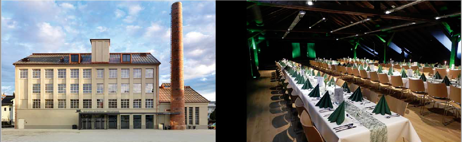 Veranstaltungsraum und Außenansicht des Deutschen Hutmuseum in Lindenberg