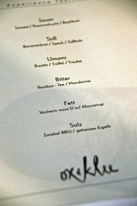 Menü im Restaurant Ox und Klee in Köln
