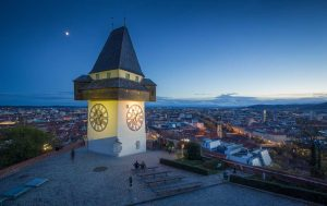 Graz, Uhrenturm - Murradweg