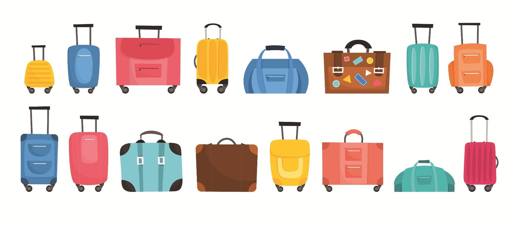 Gepäckstücke bunt gezeichnet