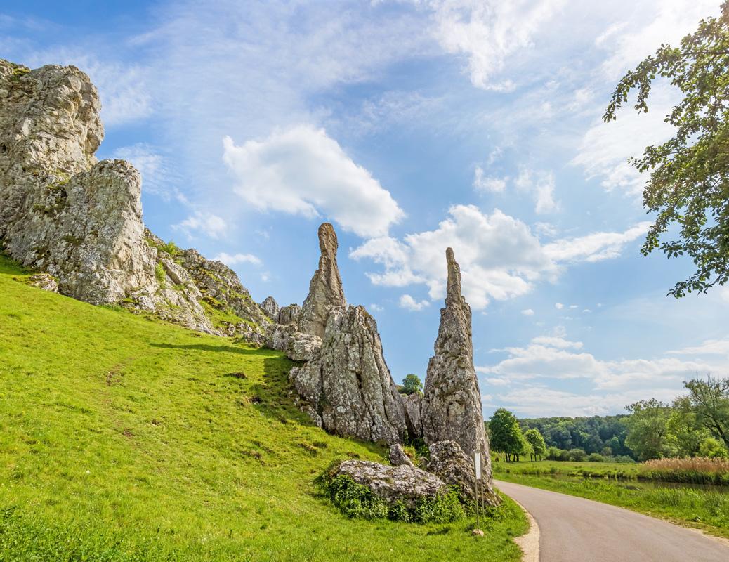 Steinerne Jungfrauen im Eselsburger Tal, Schwäbische Alb - Albtäler-Radweg