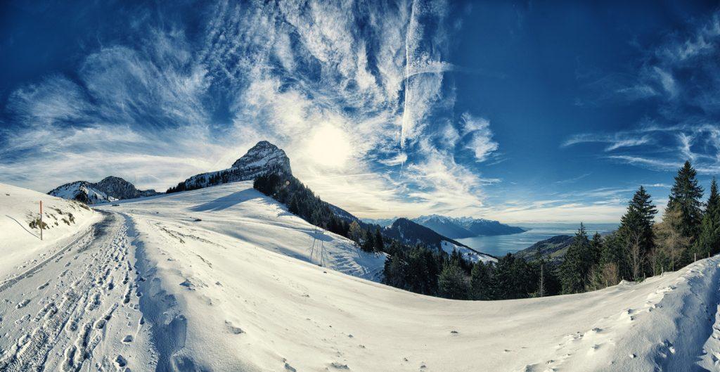 Col de Jaman, Genferseegebiet, Schweizer Alpen - Loipen in der Schweiz