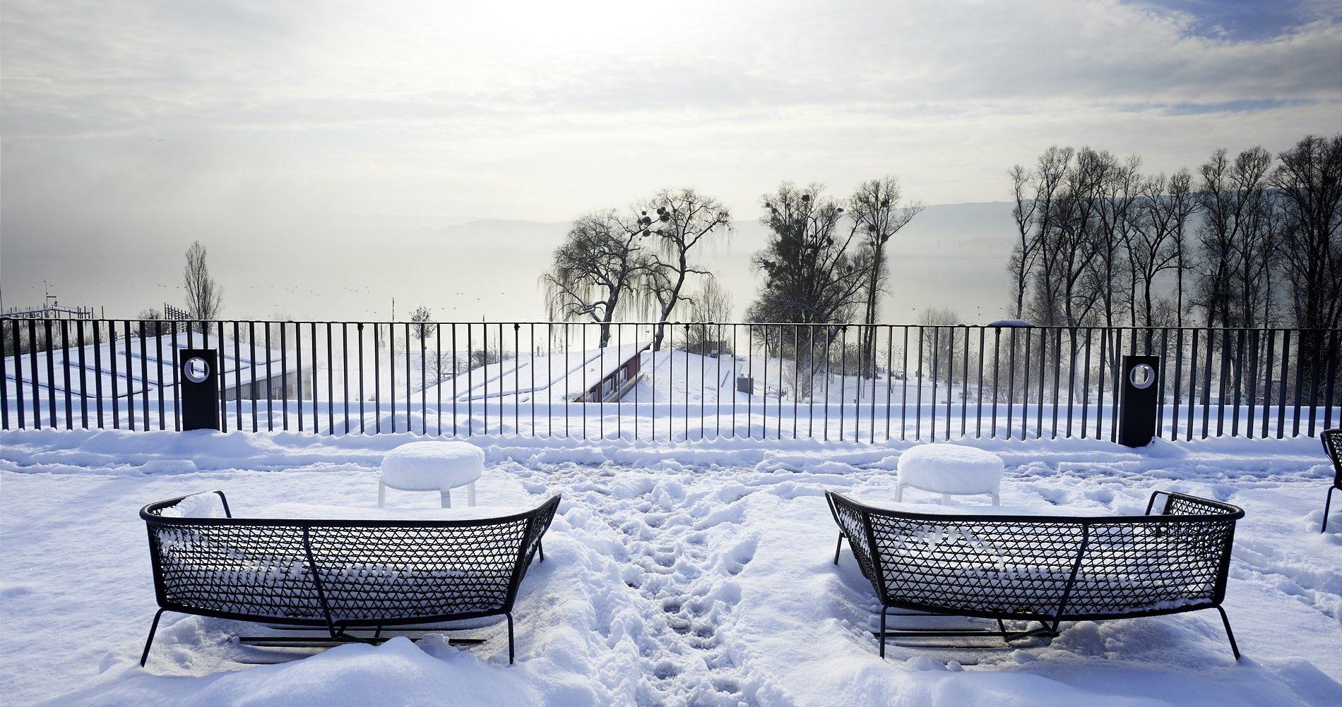 Ausblick von der Skylounge im Winter