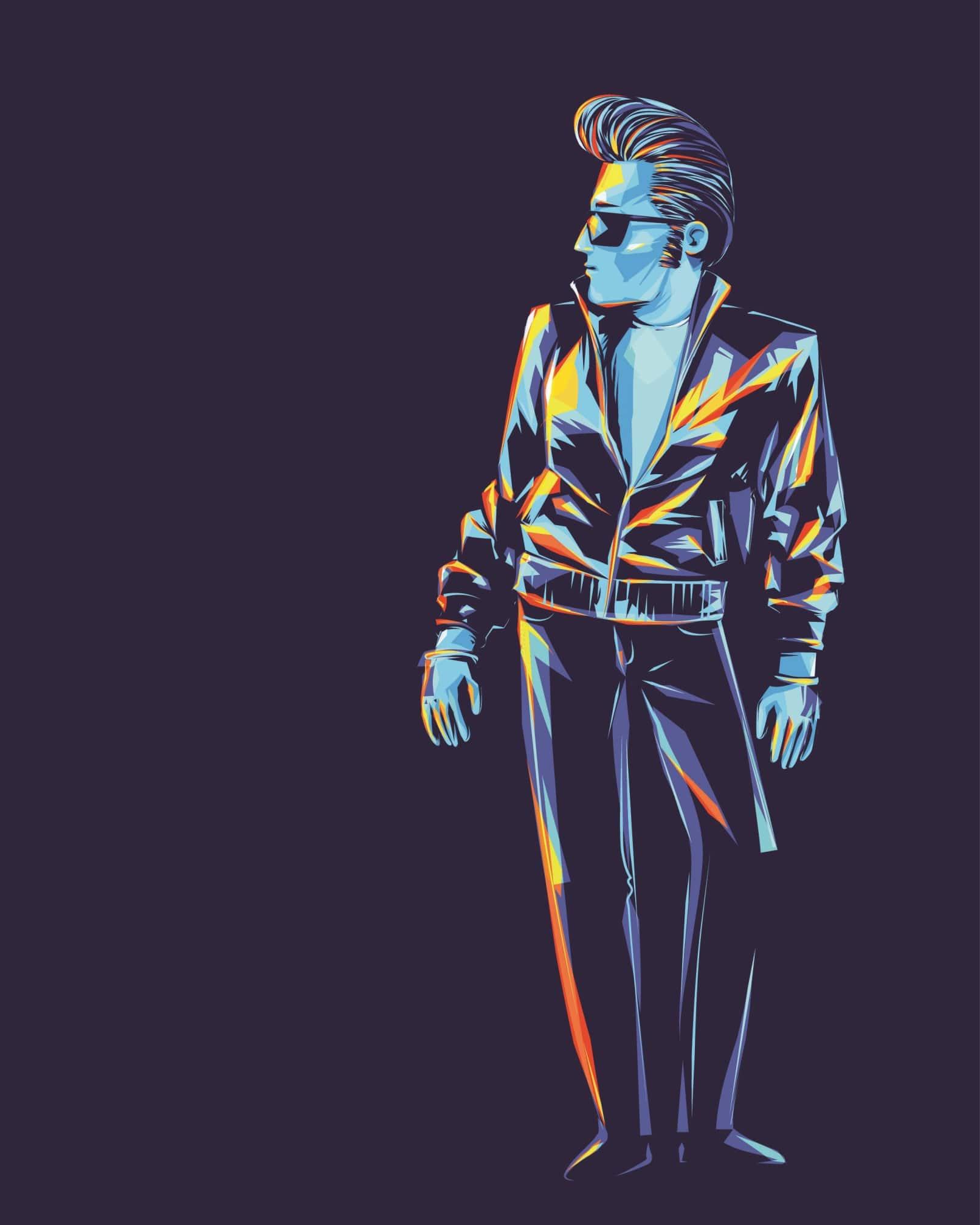 Illustration Mann im Rockabilly Stil mit Lederjacke, Sonnenbrille, Tolle und Steghose
