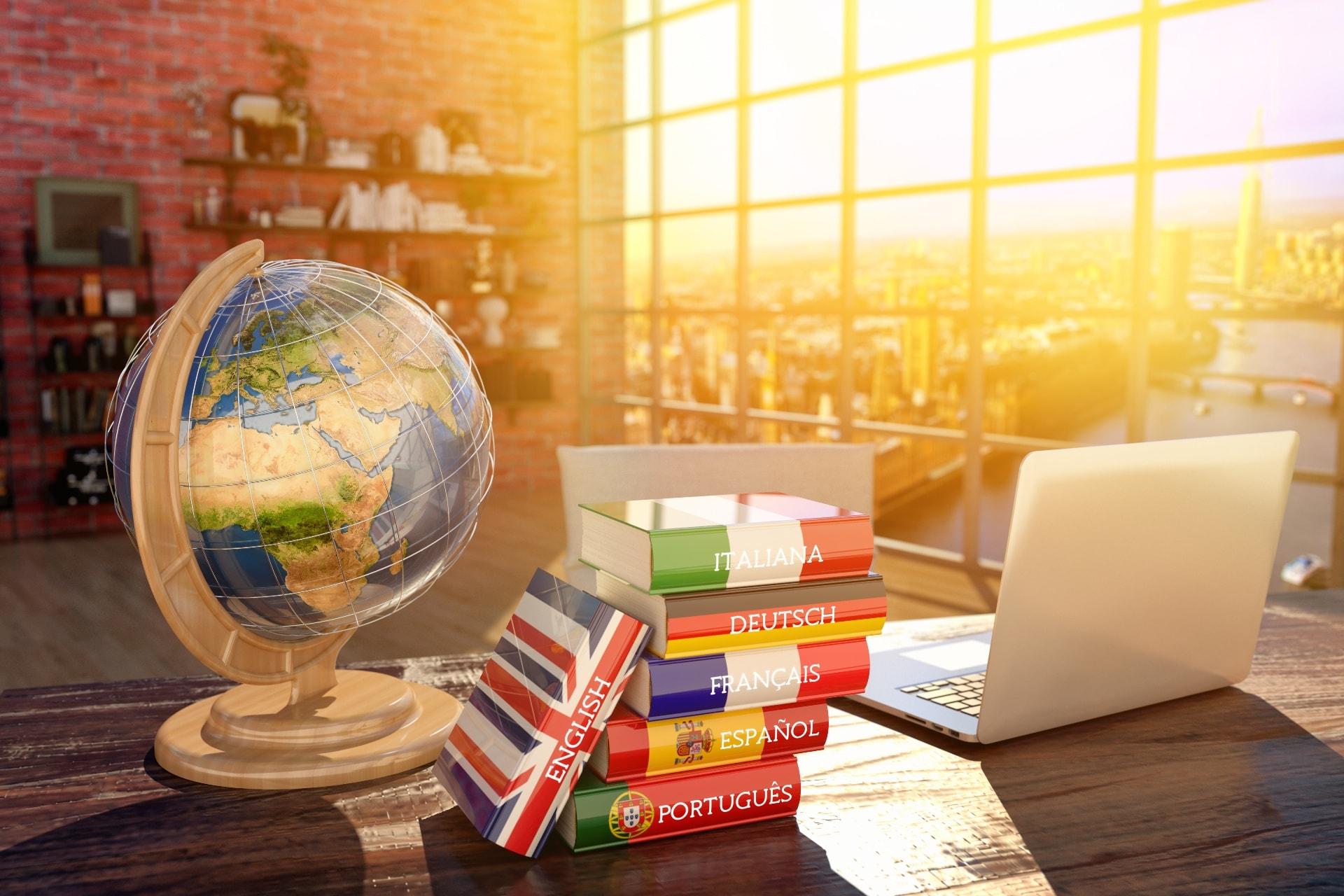 Globus und Reisebücher in verschiedenen Sprachen