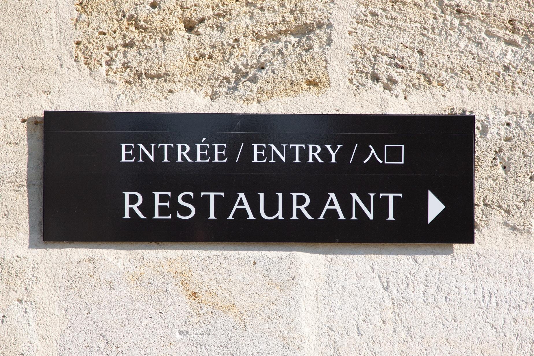 Restaurant Eingangsschild mehrsprachig
