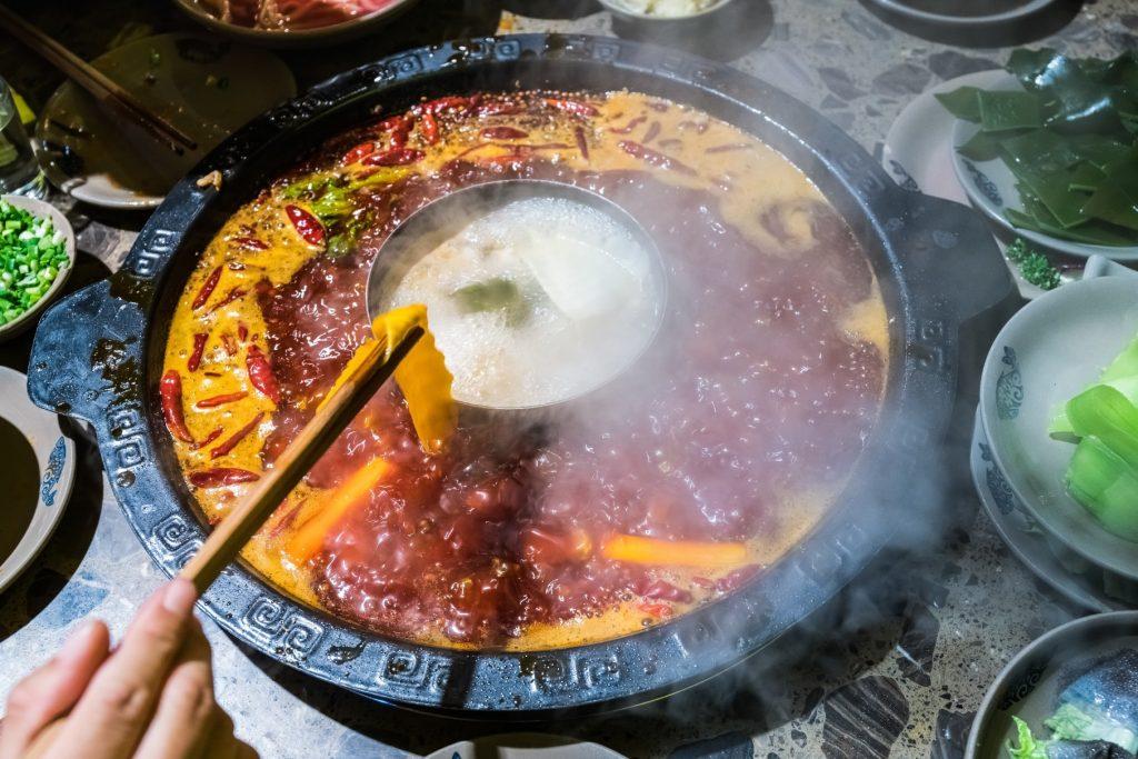 Hot Pot Spezialität in China