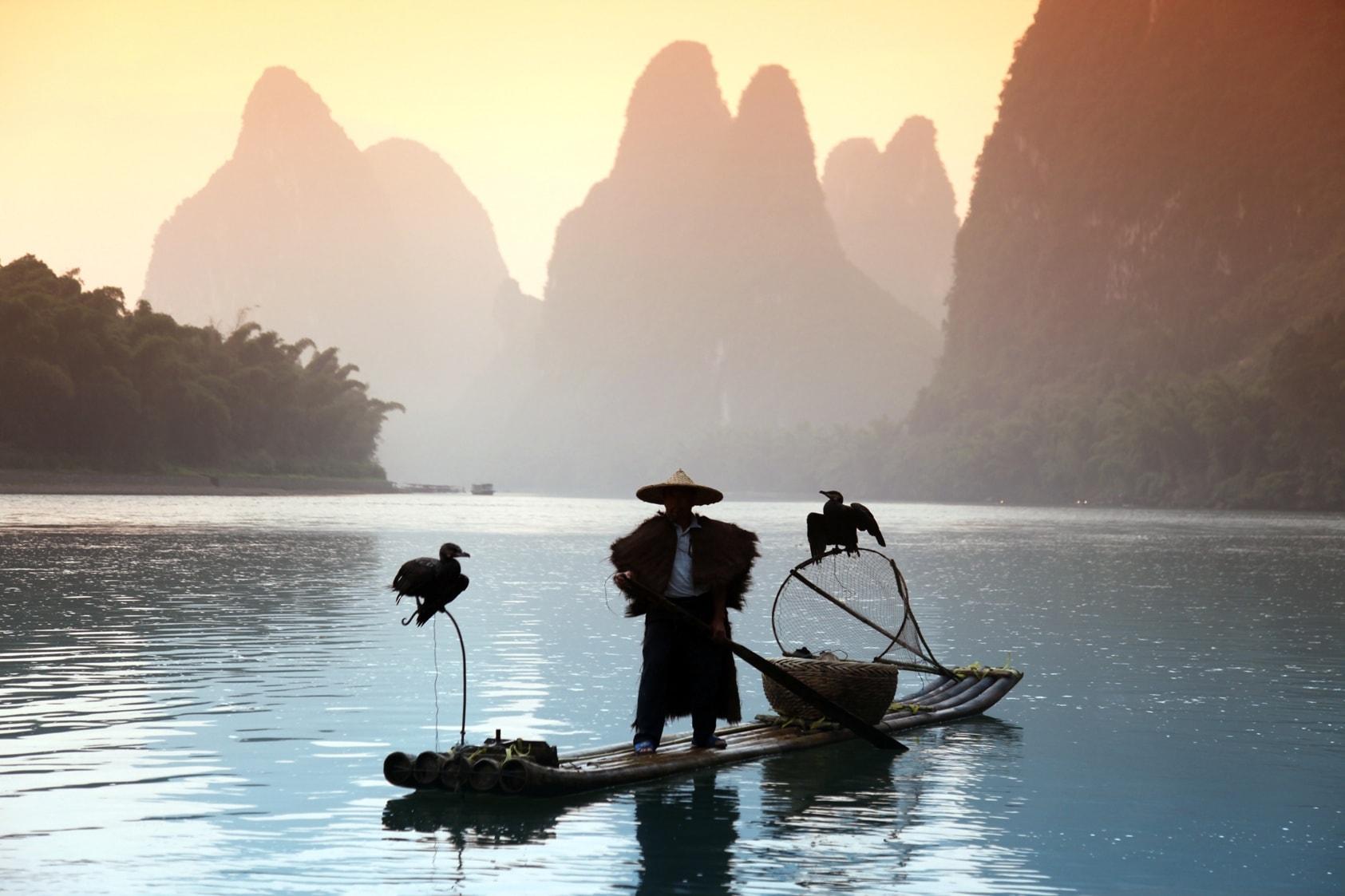 Fischer auf dem Li Fluss in Yangshuo bei Guilin, China