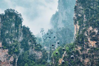 Seilbahn in den Zhangjiajie Bergen in China in der Provinz Hunan