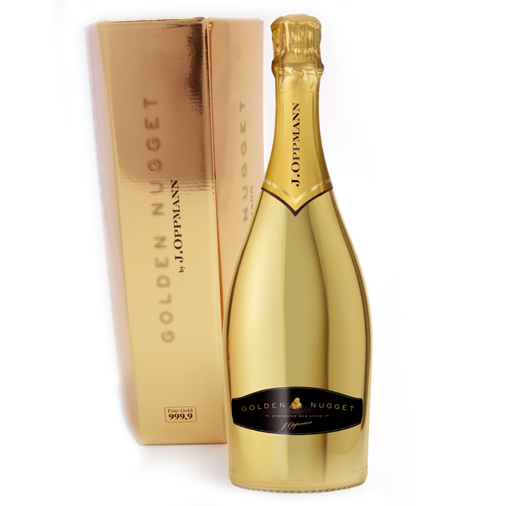 Eine Flasche Golden Nugget extra dry Sekt mit Goldbarren Geschenkkarton - Ostergewinnspiel - Ostersonntag