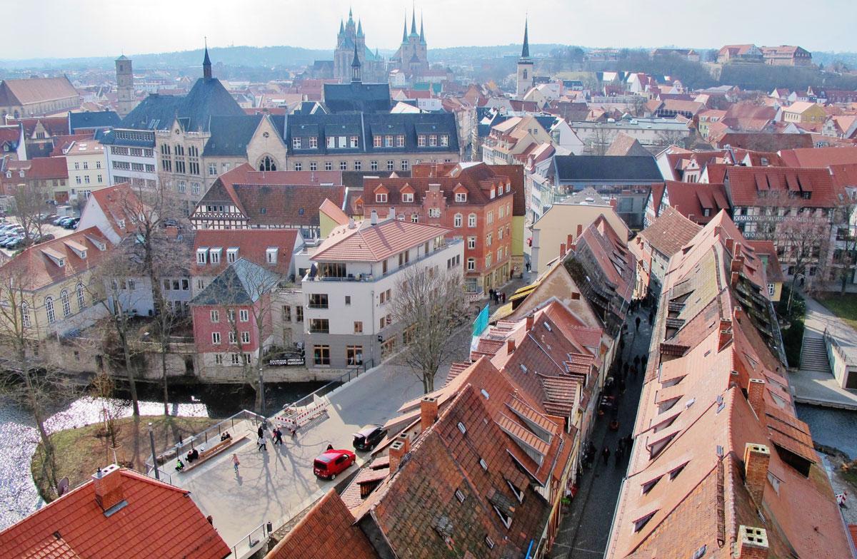 Kraemerbruecke Erfurt von oben