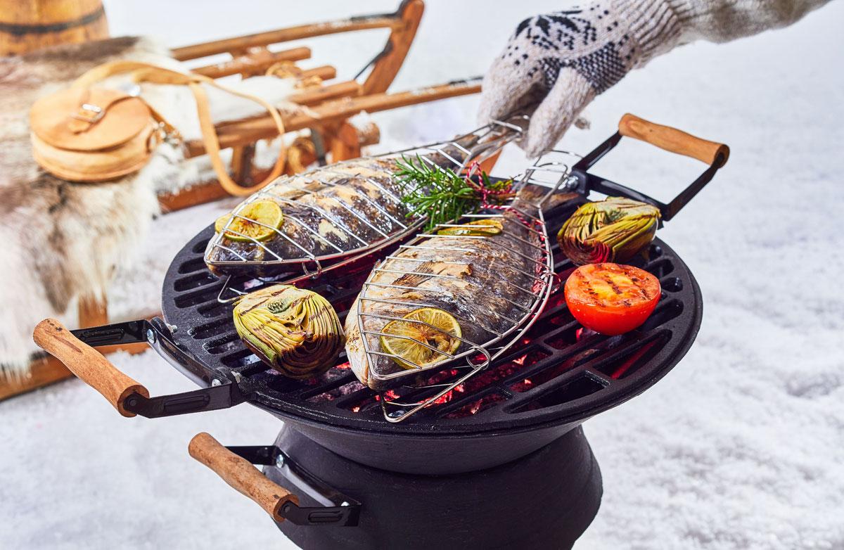 Wintergrillen Fisch