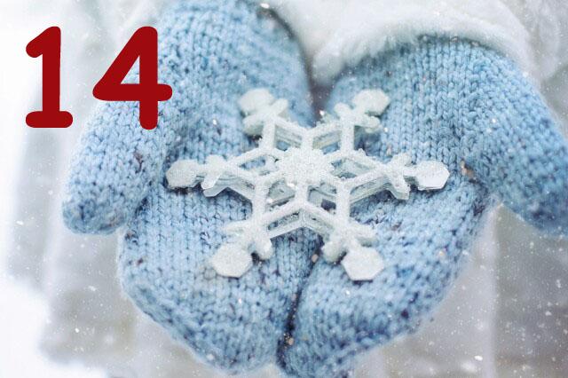 Großer Schneeflockenstern auf Handschuhen
