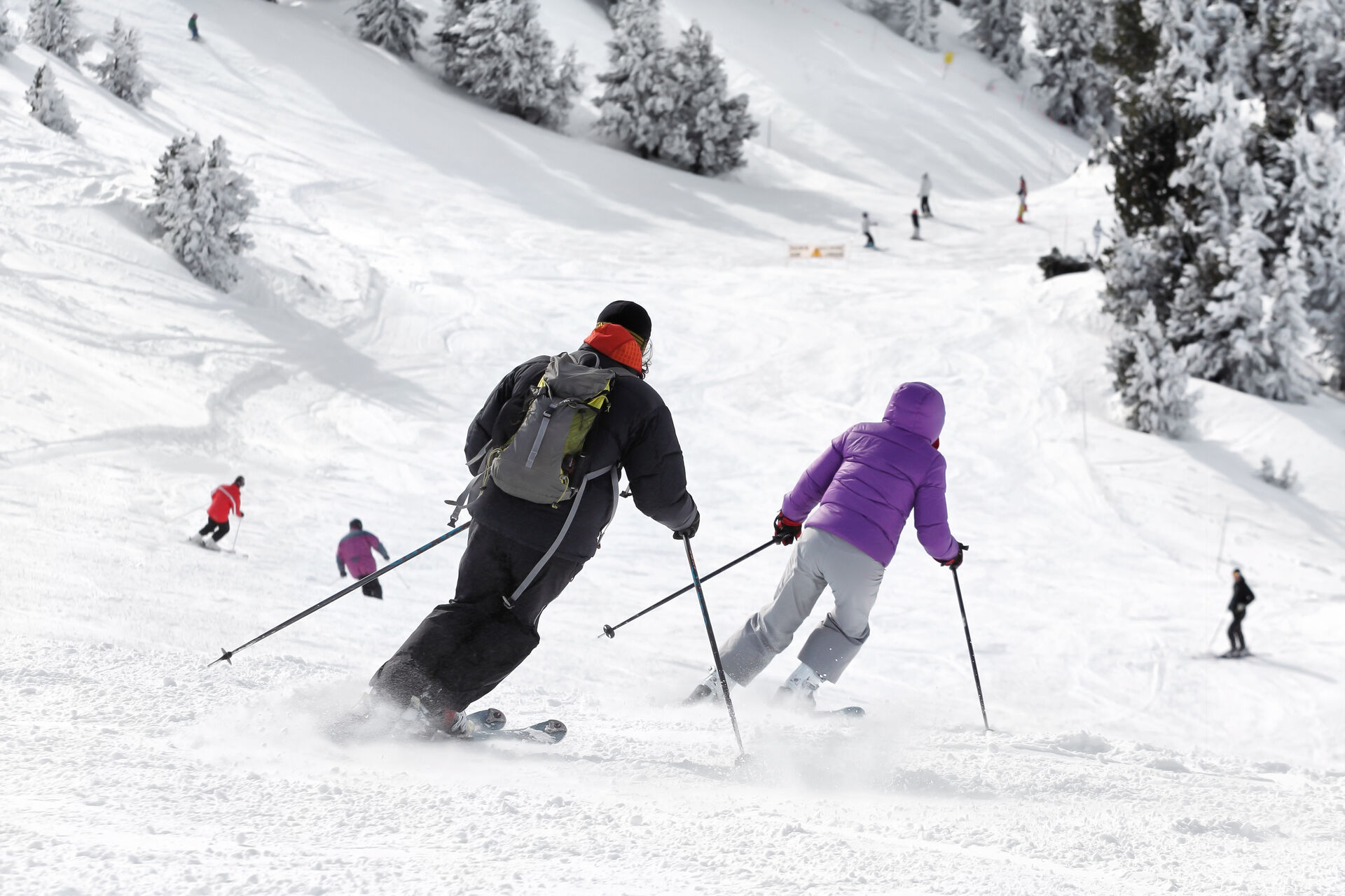 Skifahren: 2 Skifahrer auf der Abfahrtspiste