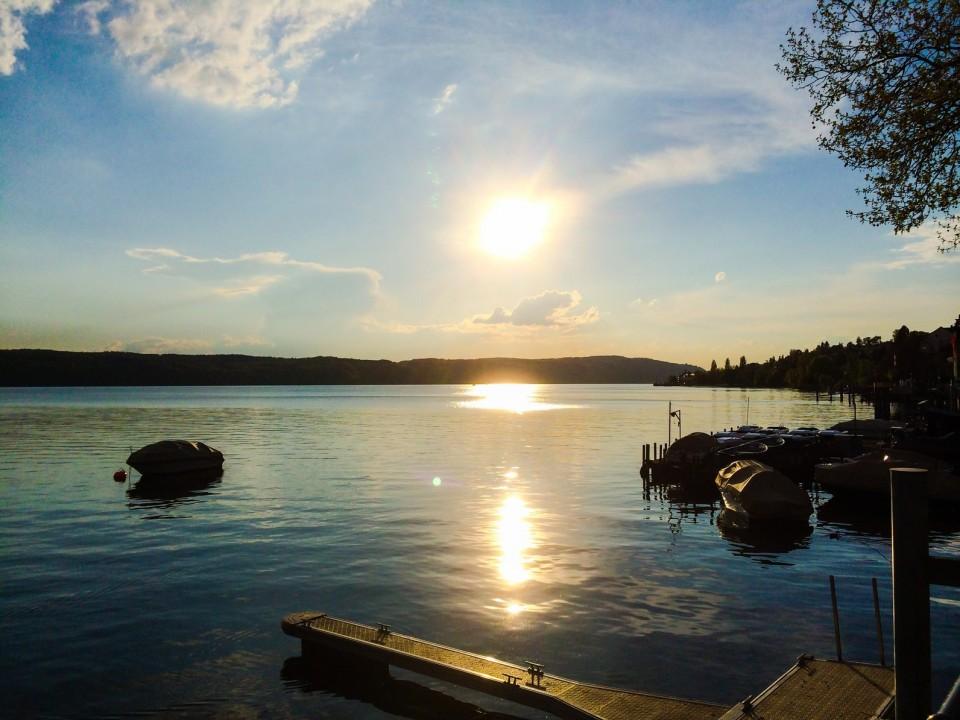 Romantischer Sonnenuntergang am Bodensee - Bodensee-Radweg