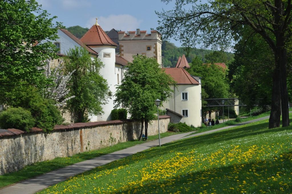 Stadtmauer am Basteisteg in Amberg in der Fränkischen Alb