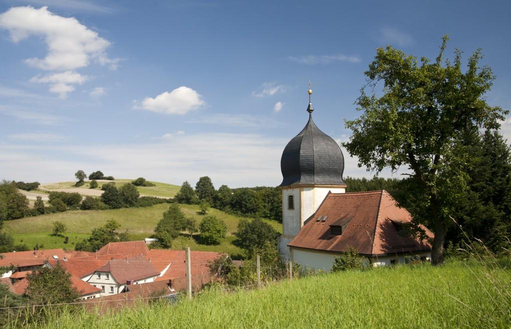 Dörfliche Idylle in der Region Haßberge in Bayern, Obermainland, Coburger Land