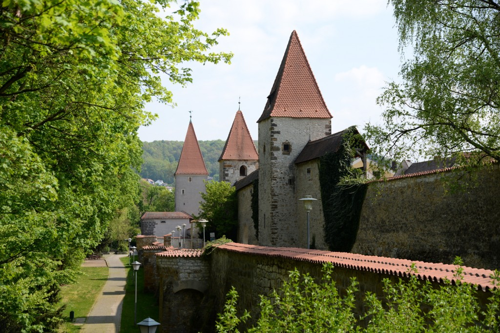 Stadtmauer in Amberg in Franken in der Fränkischen Alb