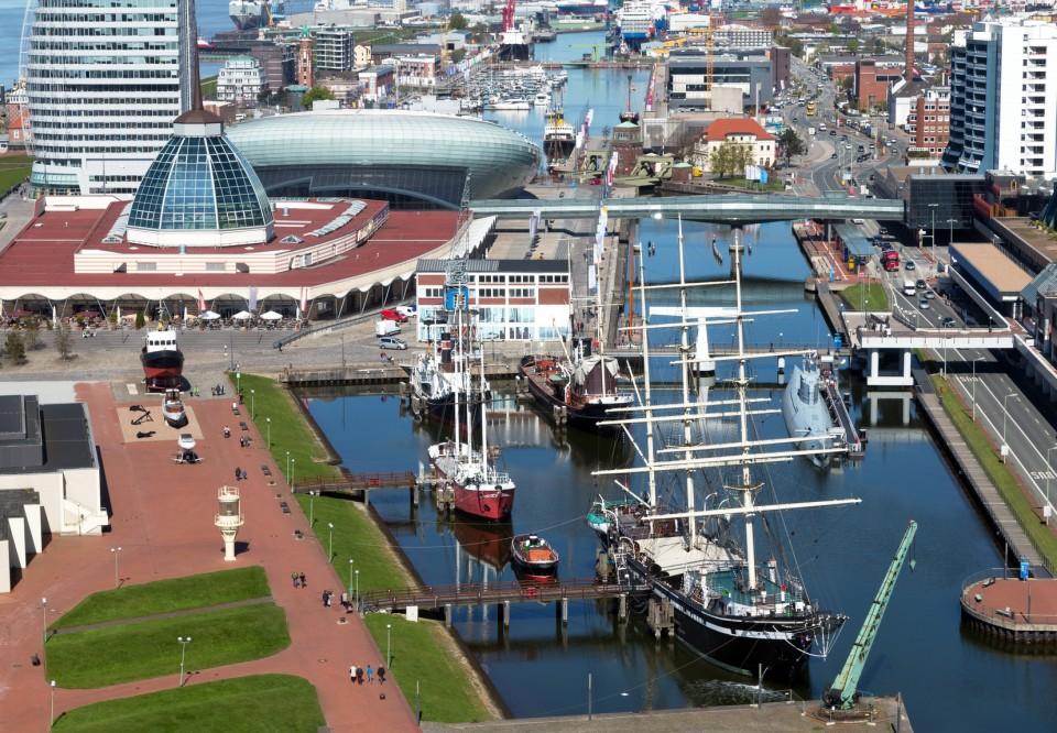 Blick auf den Museumshafen in Bremerhaven