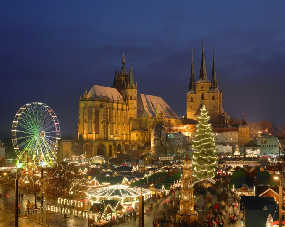 Festlich beleuchteter Erfurter Weihnachtsmarkt