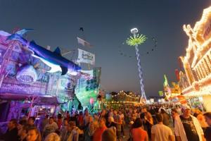 Backfischfest Worms, Festplatz bei Nacht